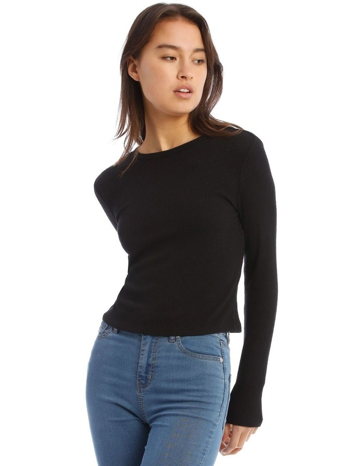 Crew Neck Cropped Long Sleeves Rib Top image 1