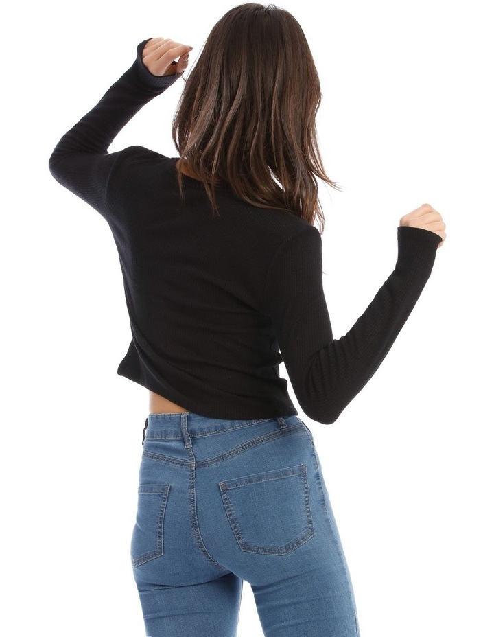 Crew Neck Cropped Long Sleeves Rib Top image 3