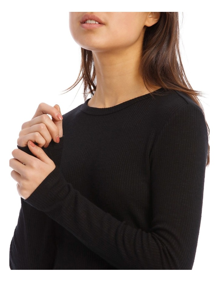 Crew Neck Cropped Long Sleeves Rib Top image 4