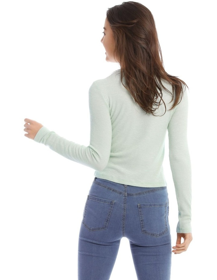 Crew Neck Cropped Long Sleeve Rib Top image 3