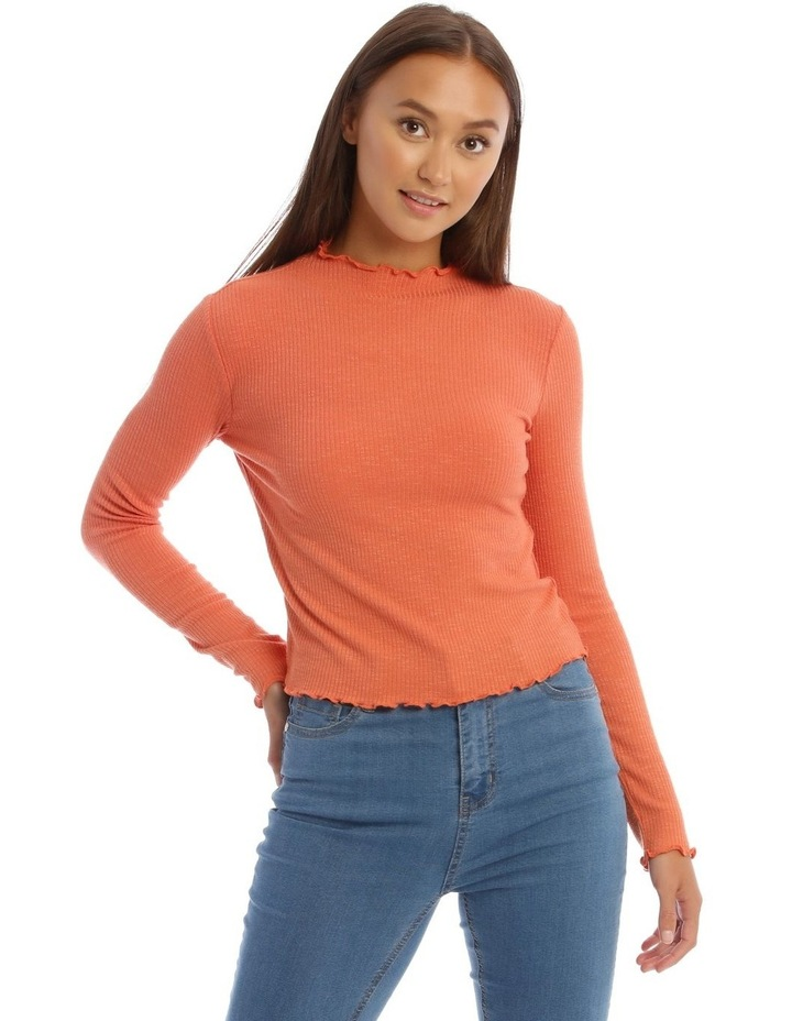 Lettuce Edge Stand Neck Cropped Long Sleeve Rib Top image 1