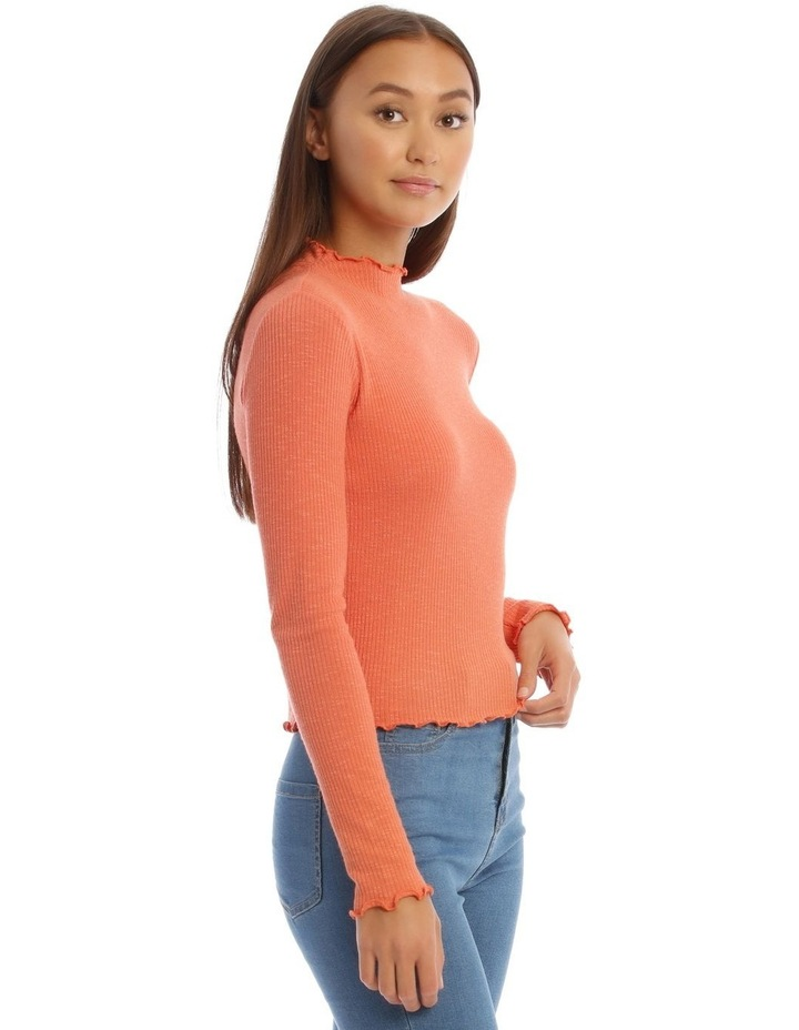 Lettuce Edge Stand Neck Cropped Long Sleeve Rib Top image 2
