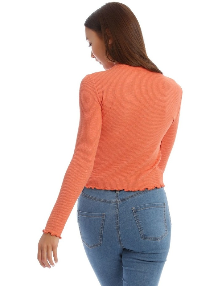 Lettuce Edge Stand Neck Cropped Long Sleeve Rib Top image 3