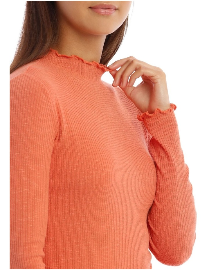 Lettuce Edge Stand Neck Cropped Long Sleeve Rib Top image 4