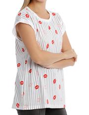 Miss Shop Essentials - Boyfriend Roll Cuff Tee - Aop White Lip Stripe