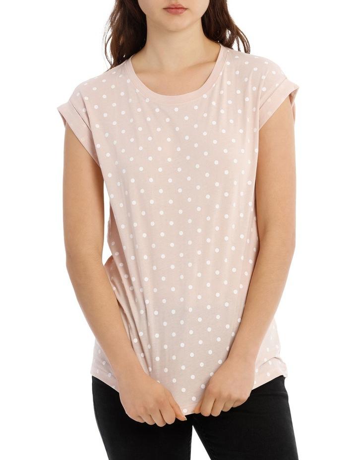 Boyfriend Roll Cuff Tee - Dusty Pink White Spot image 1