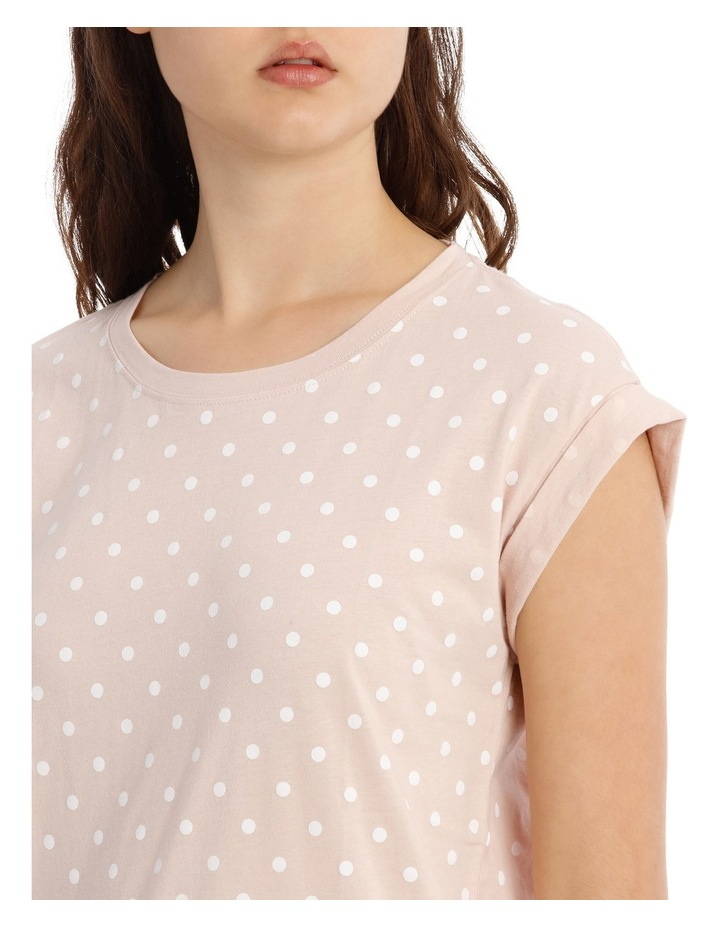 Boyfriend Roll Cuff Tee - Dusty Pink White Spot image 4