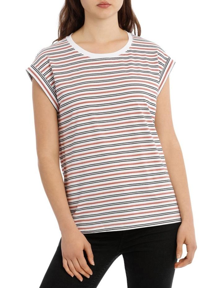 Boyfriend Roll Cuff Tee - White / Black / Teracotta Stripe image 1
