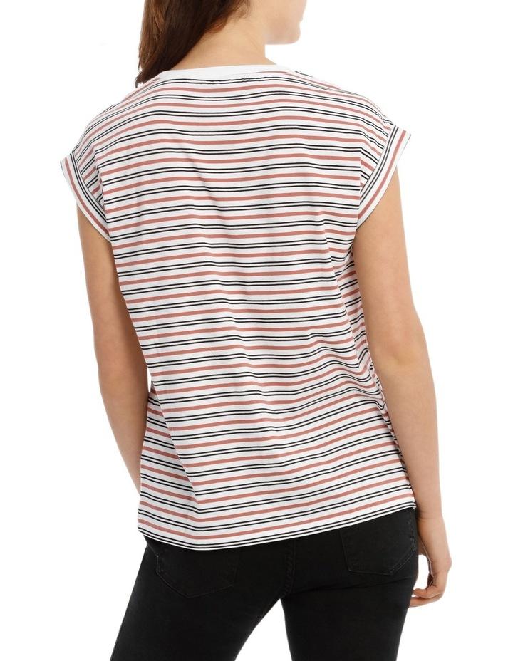 Boyfriend Roll Cuff Tee - White / Black / Teracotta Stripe image 3