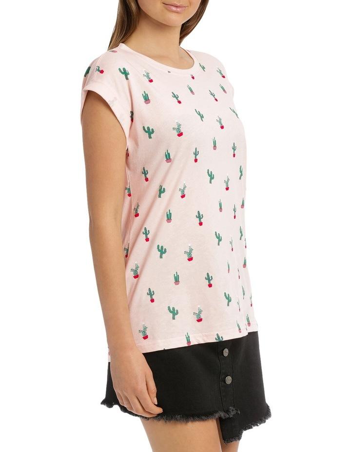 Boyfriend Roll Cuff Tee - Soft Pink Christmas Cactus image 2