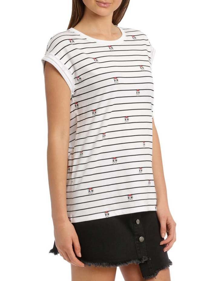 Boyfriend Roll Cuff Tee - White/Black Stripe Christmas Puppy image 2
