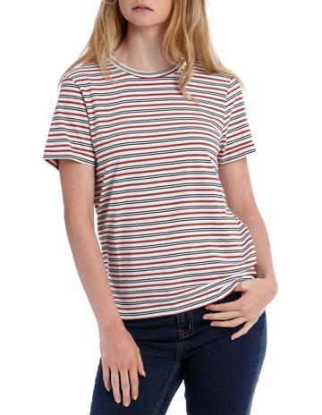 bed2aea3 Miss Shop EssentialsRoll Cuff Tee - White/Black/Rosewood Stripe