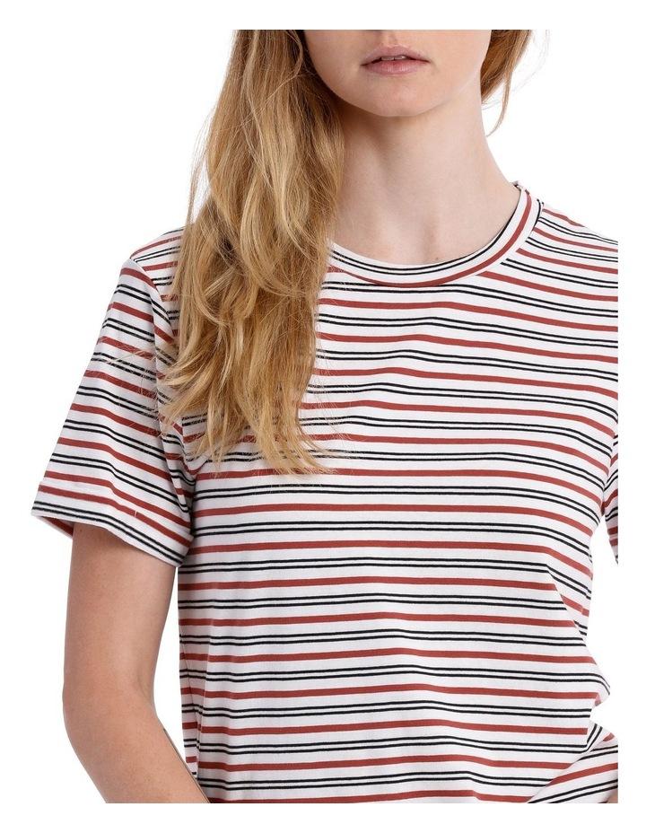 Roll Cuff Tee - White/Black/Rosewood Stripe image 4