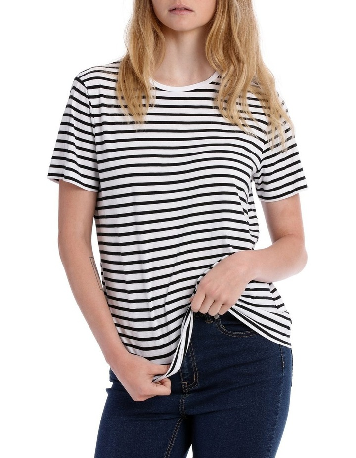S/Slv Crew Neck Tee - Black/White Stripe image 1