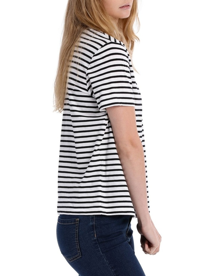 S/Slv Crew Neck Tee - Black/White Stripe image 2