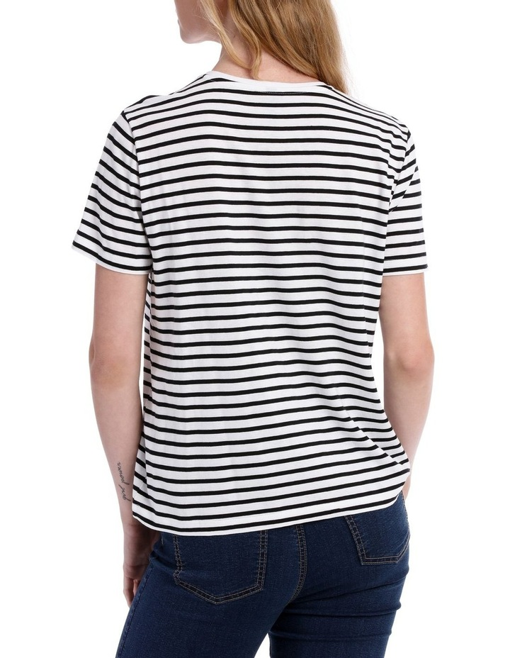 S/Slv Crew Neck Tee - Black/White Stripe image 3