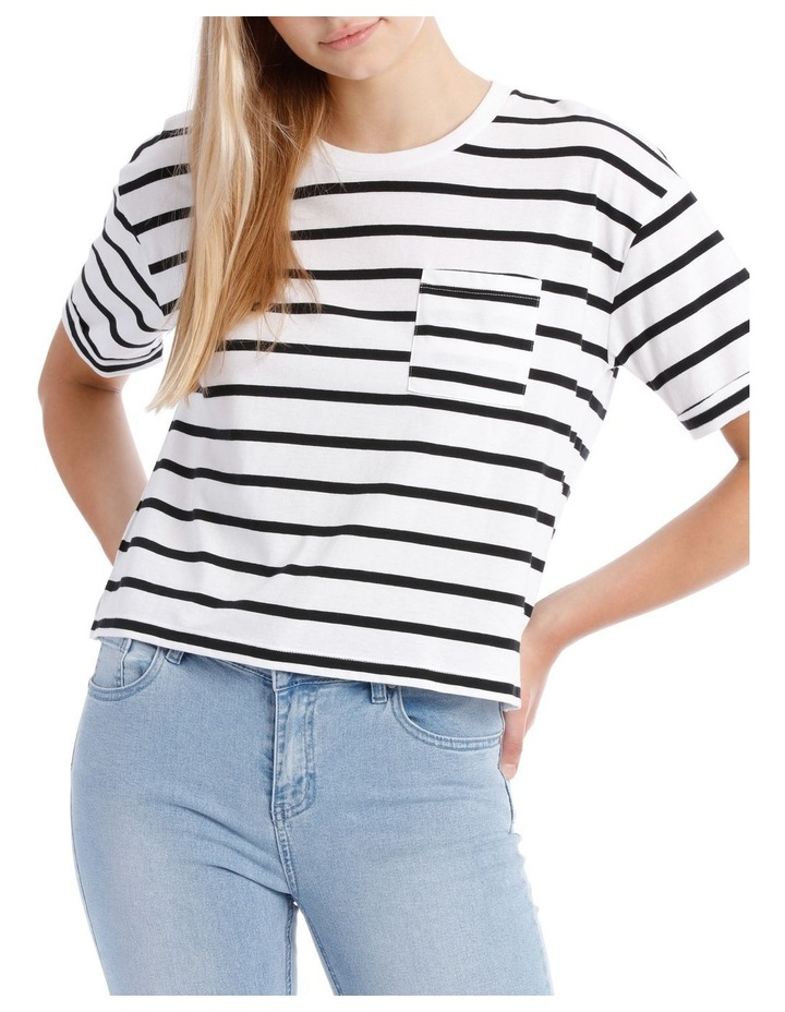 Boxy Pocket Tee - Black/White Stripe Yds image 1