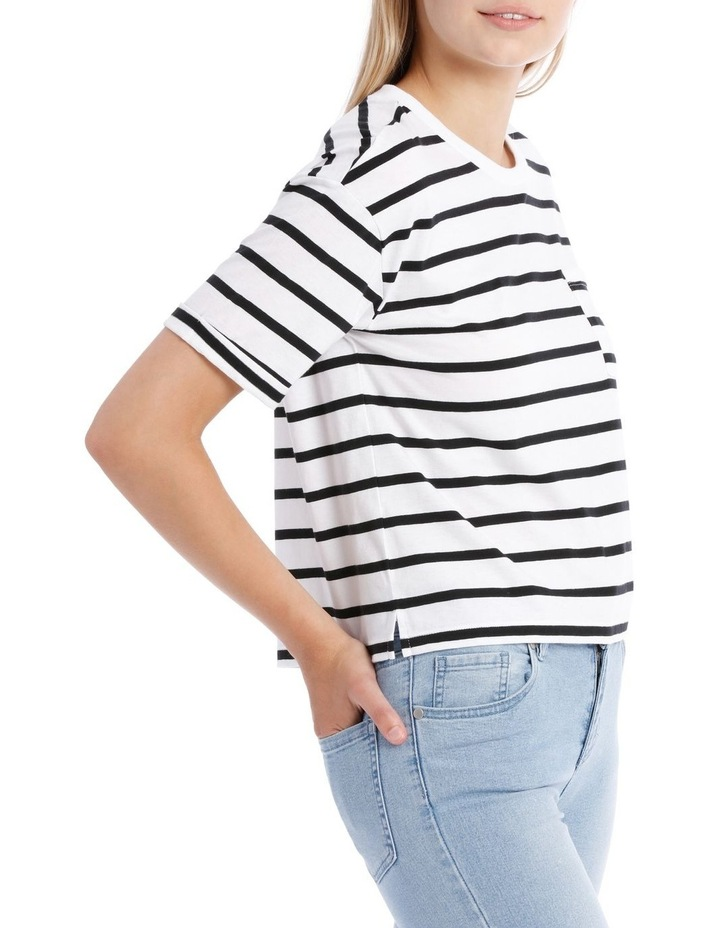 Boxy Pocket Tee - Black/White Stripe Yds image 2