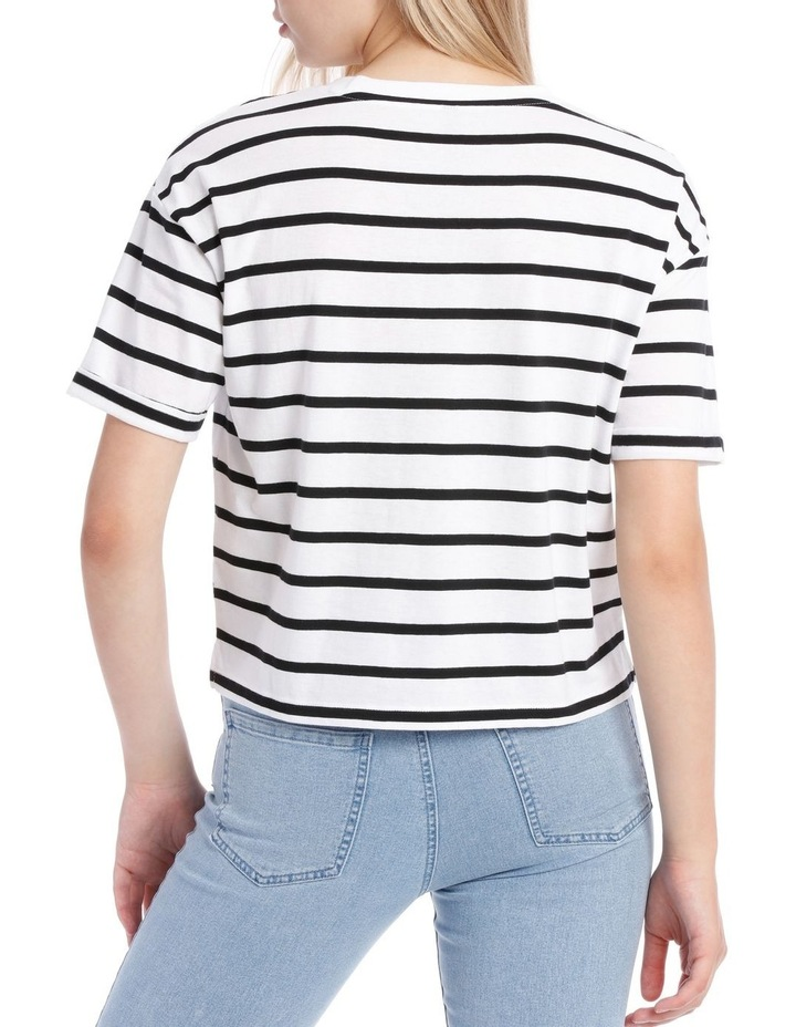 Boxy Pocket Tee - Black/White Stripe Yds image 3
