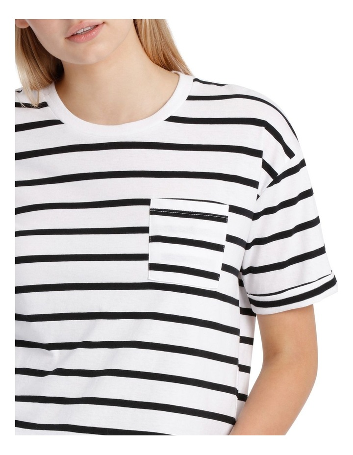 Boxy Pocket Tee - Black/White Stripe Yds image 4