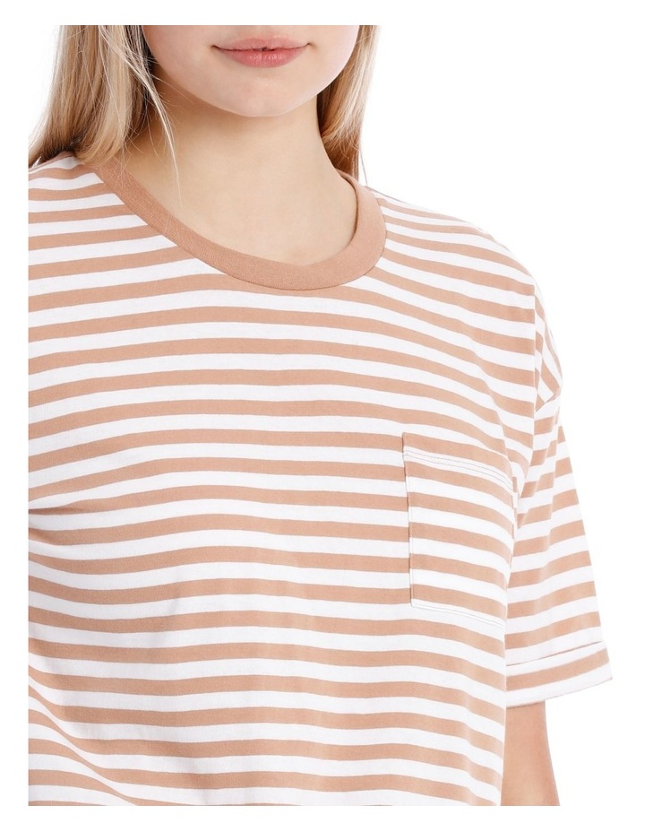 Boxy Pocket Tee - Camel/White Stripe image 4