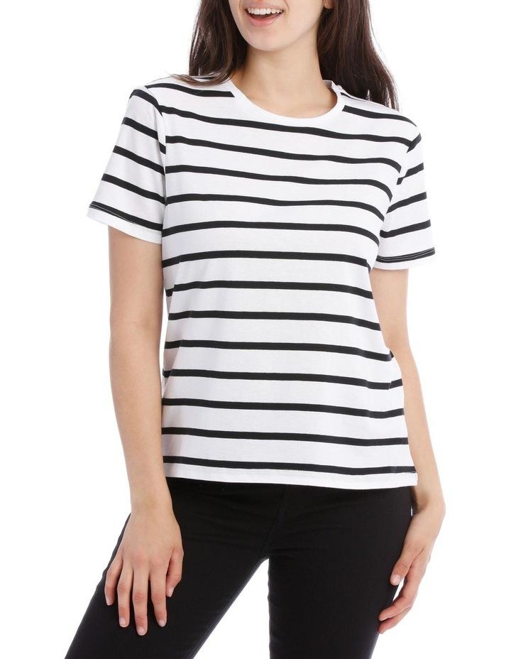 Short Sleeve Crew Neck Tee - Thick Stripe Black/White image 1