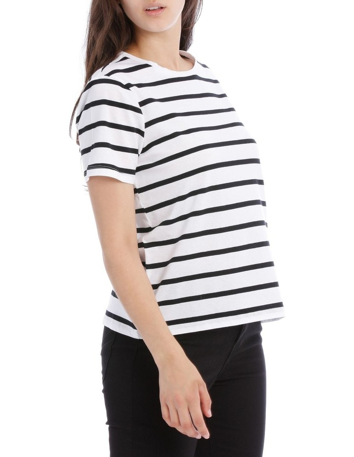Short Sleeve Crew Neck Tee - Thick Stripe Black/White image 2
