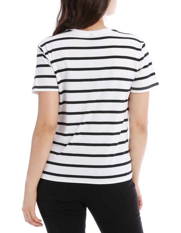 Short Sleeve Crew Neck Tee - Thick Stripe Black/White image 3