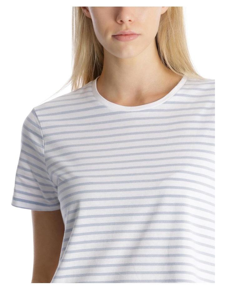 S/Slv Crew Neck Tee - Soft Blue /White Stripe image 4