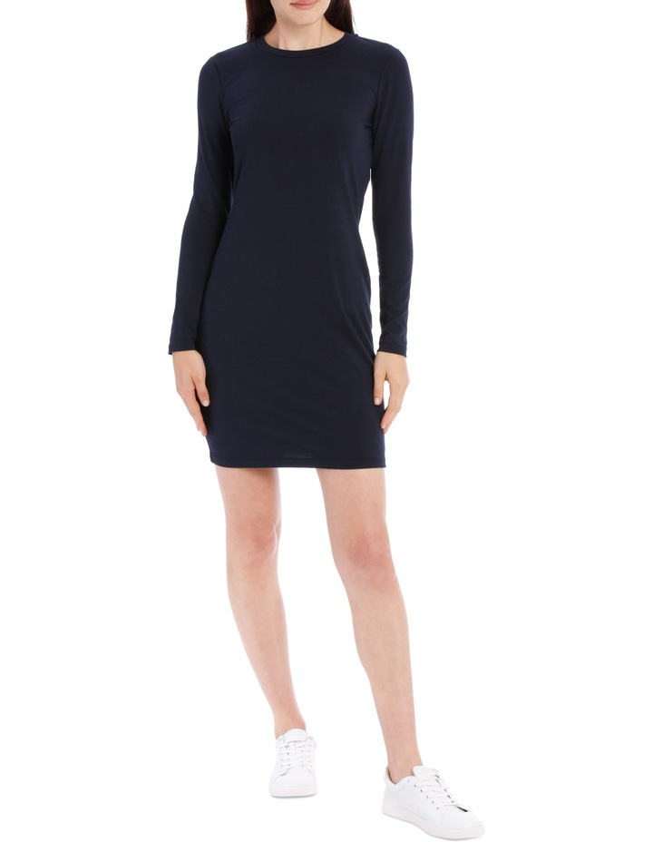 Crew Neck Long Sleeve Midi Bodycon Dress image 1