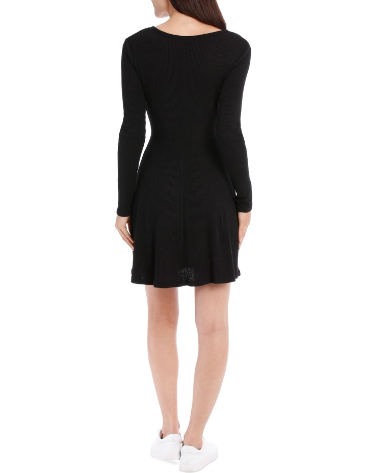 Wrap Front Long Sleeve Rib Dress image 3