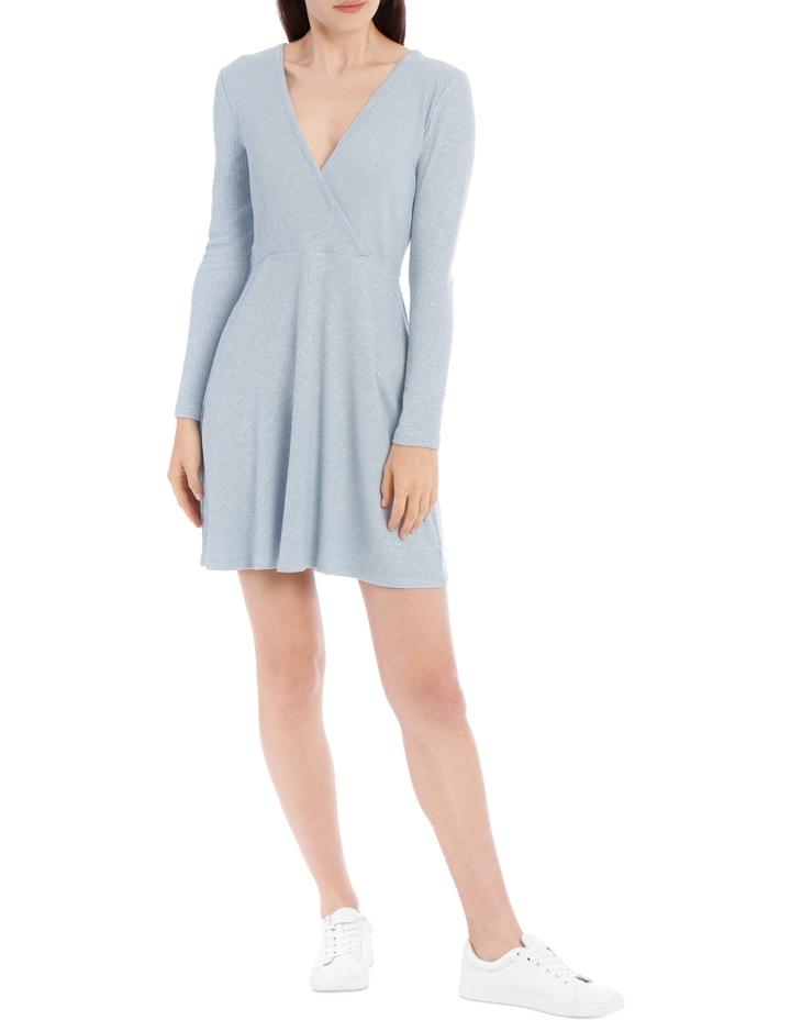 Wrap Front Long Sleeve Rib Dress image 1
