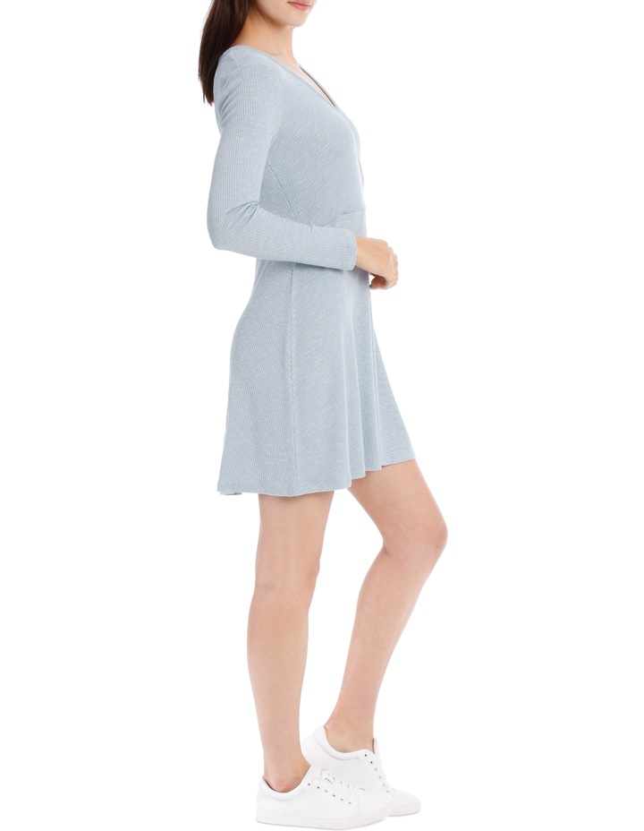 Wrap Front Long Sleeve Rib Dress image 2