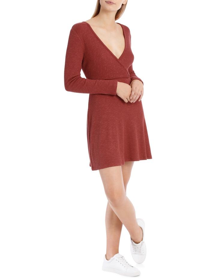Wrap Front Long Sleeve Rib Dress image 2