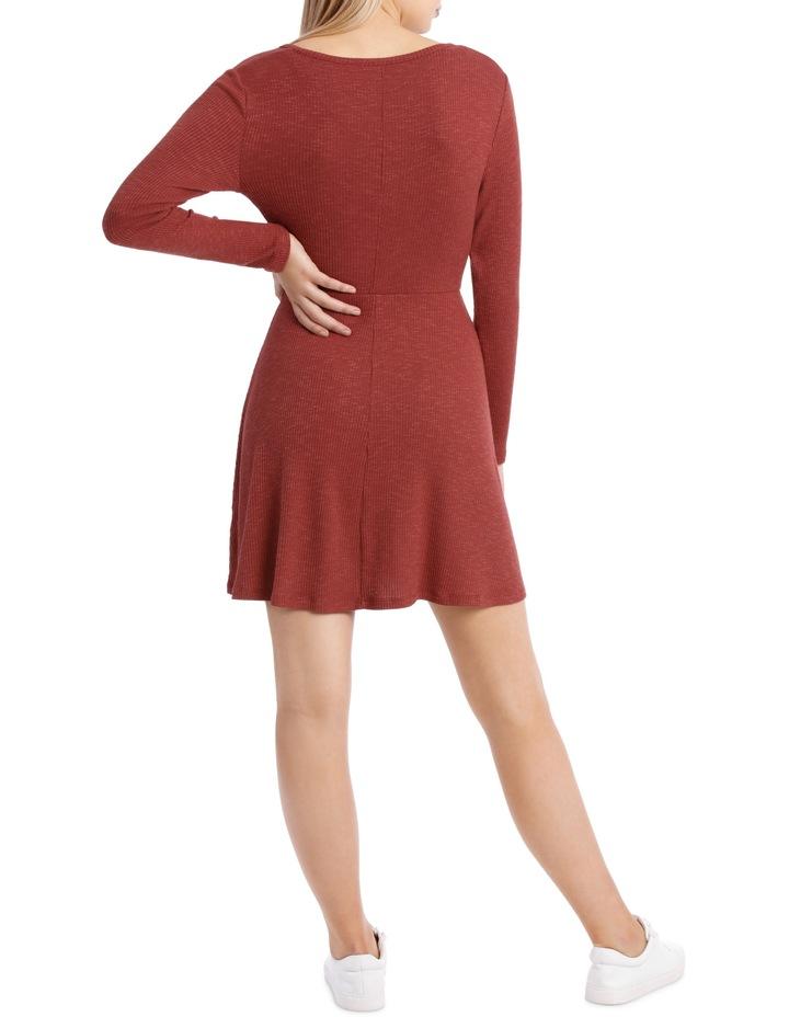 Wrap Front Long Sleeve Rib Dress image 3