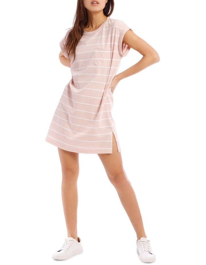Dusty Pink/White Stripe T-Shirt Dress image 1