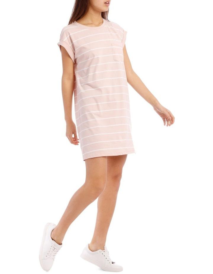 Dusty Pink/White Stripe T-Shirt Dress image 2