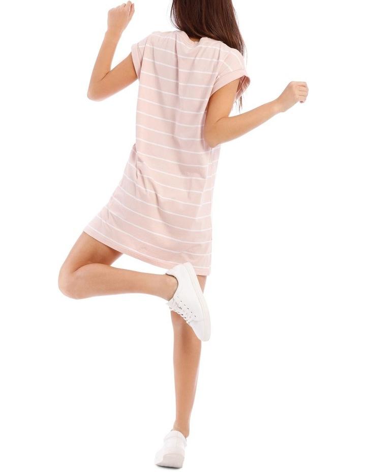 Dusty Pink/White Stripe T-Shirt Dress image 3
