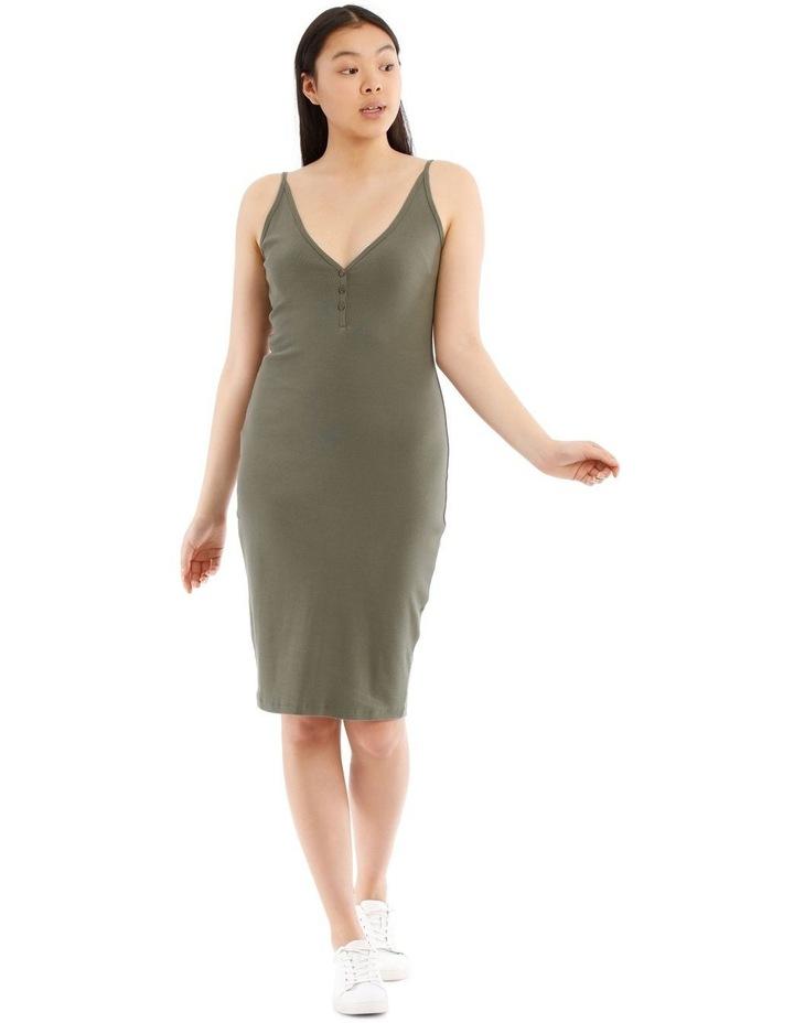 Fitted Rib Midi Dress image 1