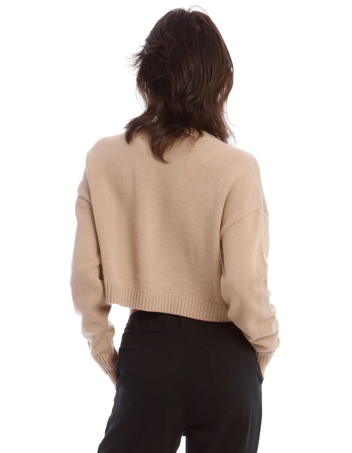 Tri-Button Cropped Cardigan In Camel image 3