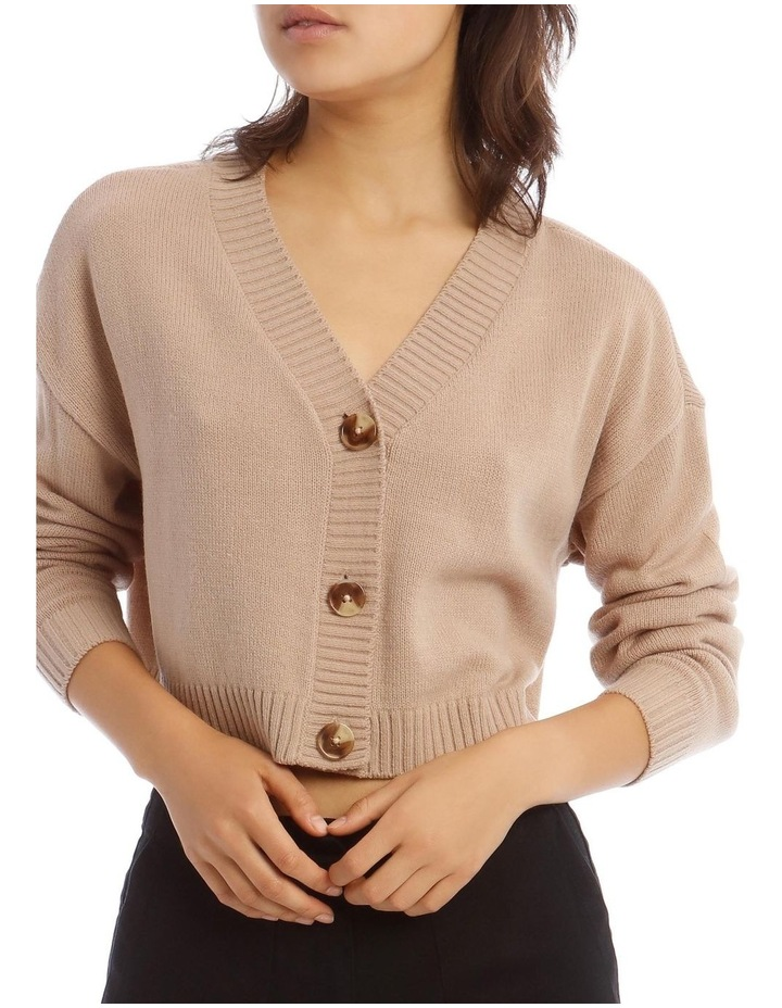 Tri-Button Cropped Cardigan In Camel image 4