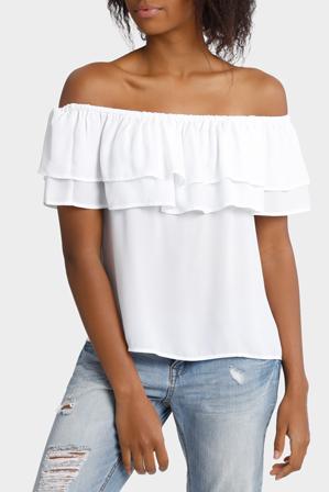 Miss Shop - Double Ruffle Off Shoulder Top