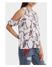Miss Shop - Cut Out Ruffle Sleeve Top