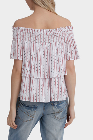 Miss Shop - Shirred Off Shoulder Top