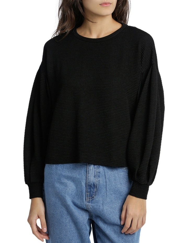 Textured Knit Blouson Sleeve Top MSCW18207. image 1