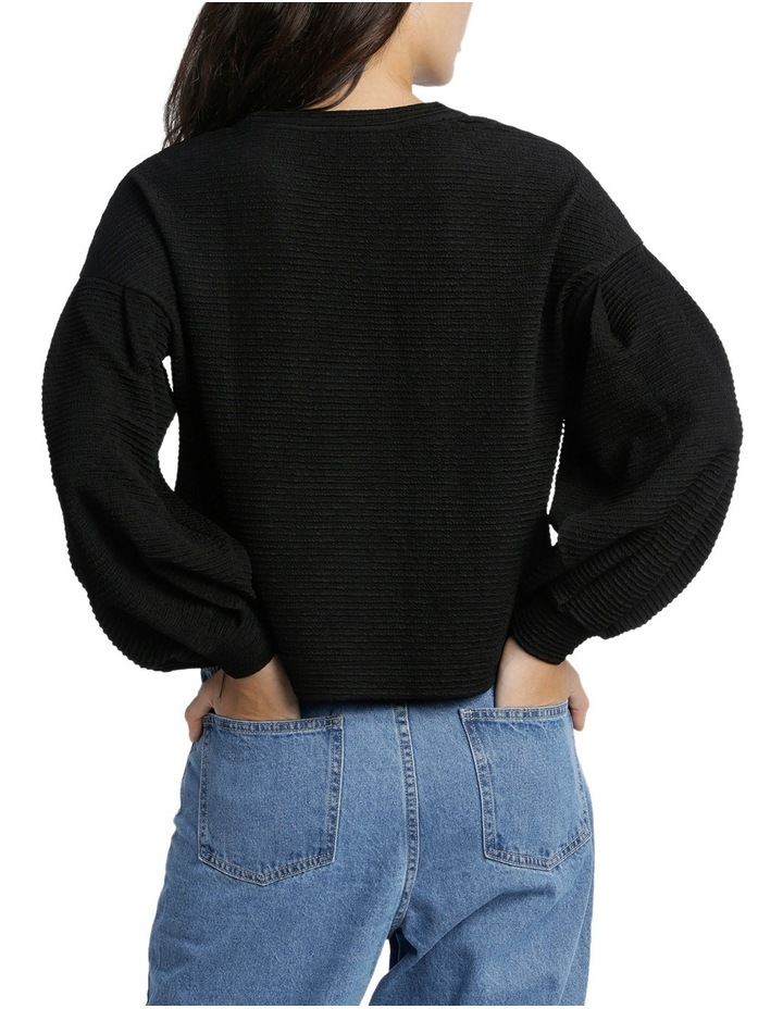 Textured Knit Blouson Sleeve Top MSCW18207. image 3