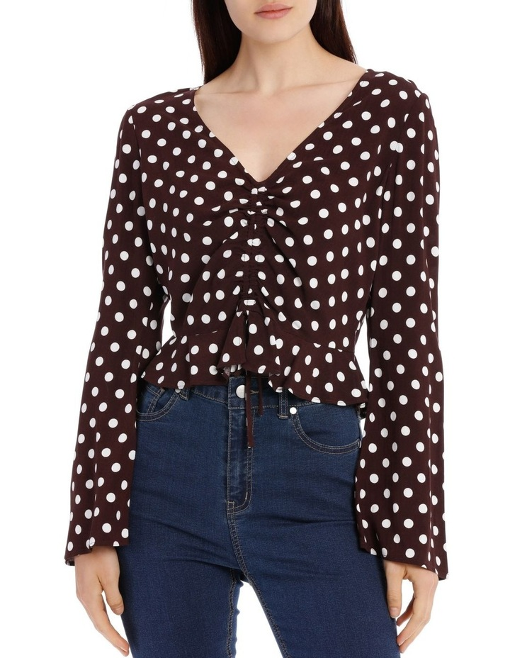 Ruched Front Flare Sleeve Top image 1
