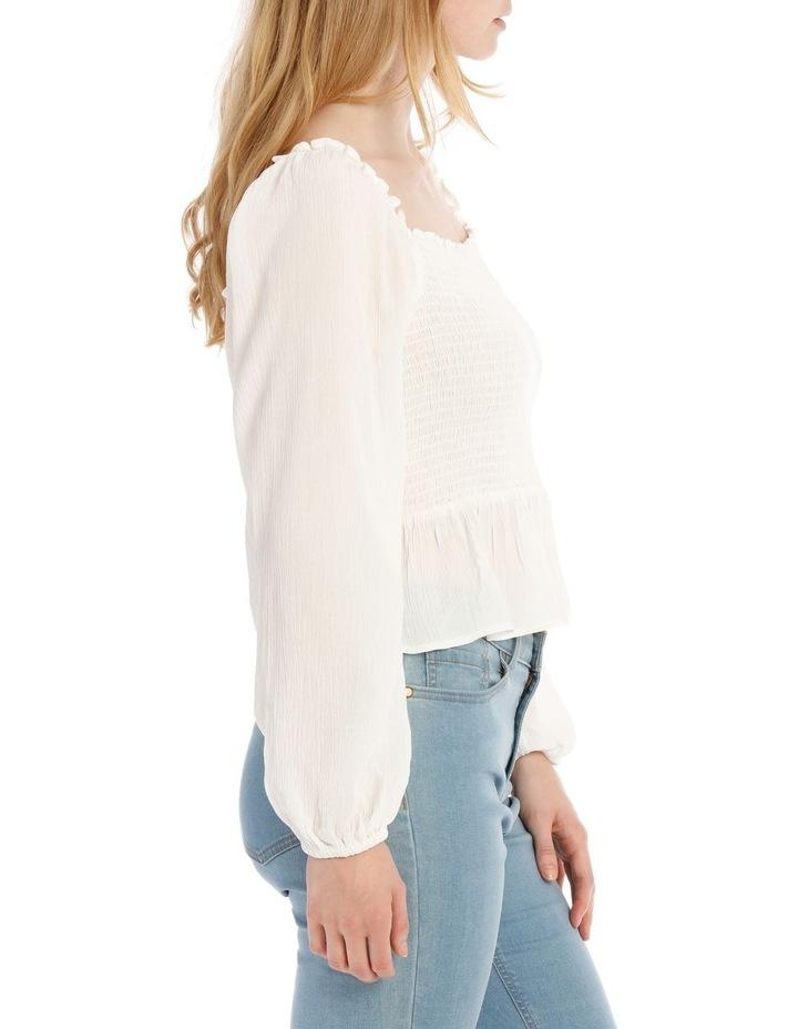 Shirred Bodice Long Sleeve Top image 2