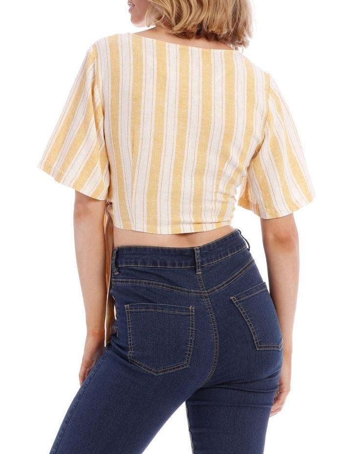 Linen Blend Tie Front Top image 3
