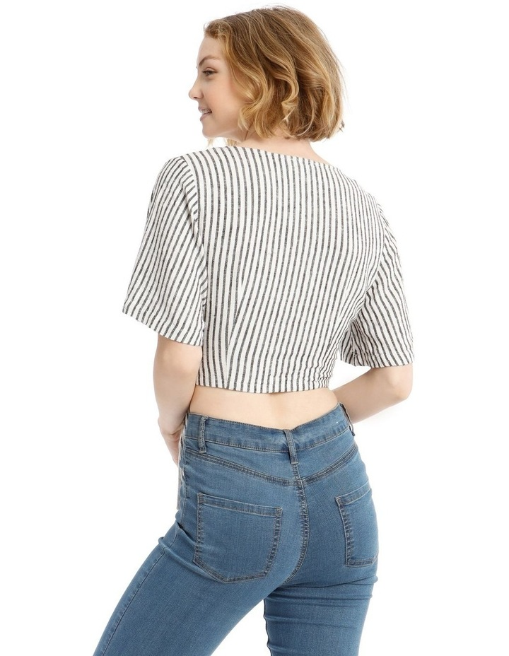 Linen Blend Wrap Top B&W Stripe image 3